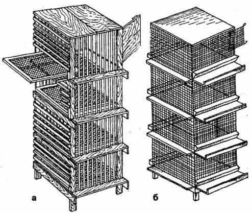 Клетка для содержания перепелов: а -деревянная; б -металлическая.